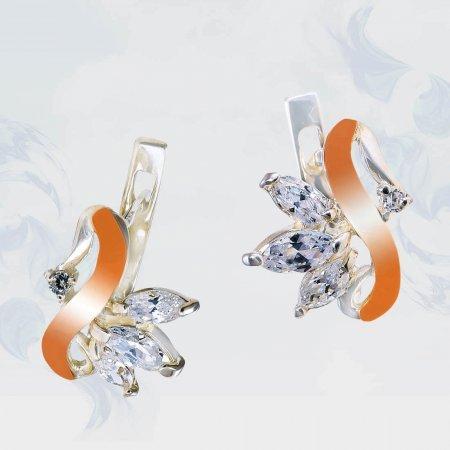 Серьги из серебра с золотыми вставками, модель 182