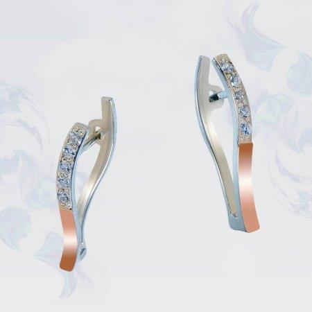 Серьги из серебра с золотыми вставками, модель 184