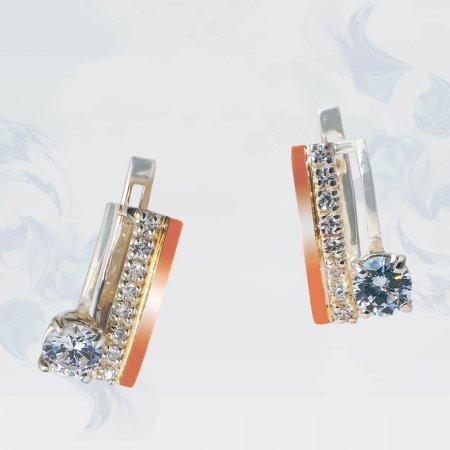 Серьги из серебра с золотыми вставками, модель 185