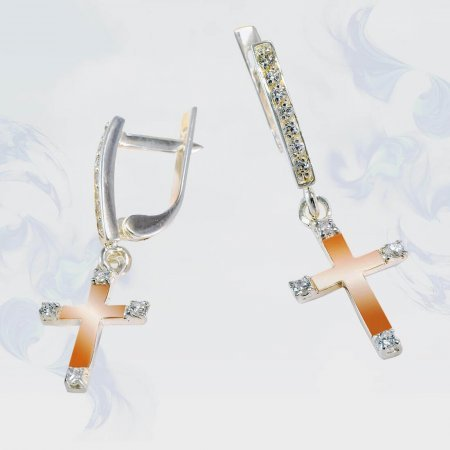 Серьги из серебра с золотыми вставками, модель 189/1