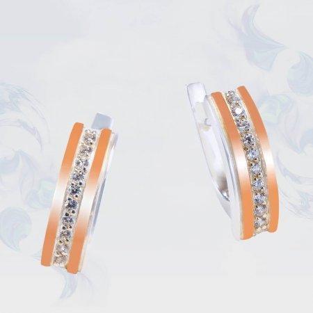 Серьги из серебра с золотыми вставками, модель 201