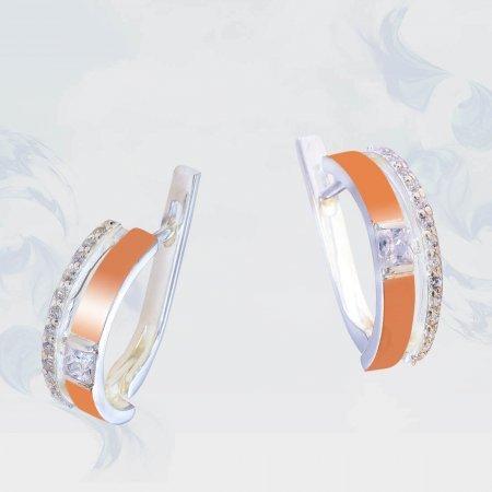 Серьги из серебра с золотыми вставками, модель 202/1