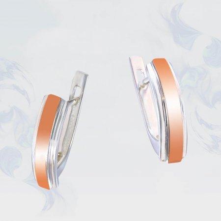 Серьги из серебра с золотыми вставками, модель 205