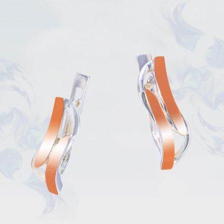 Серьги из серебра с золотыми вставками, модель 206