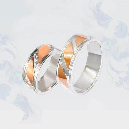Обручальные кольца из серебра с золотыми вставками, модель 080/2