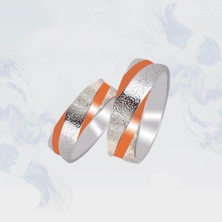 Обручальные кольца из серебра с золотыми вставками, модель 105