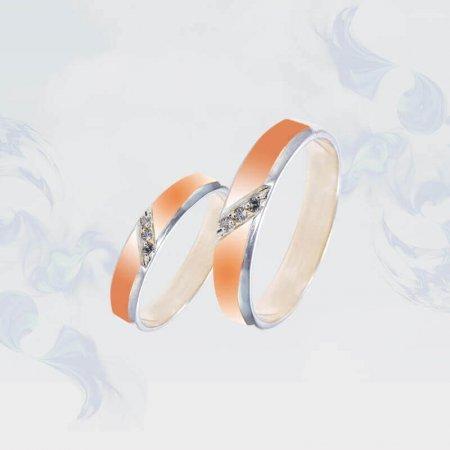 Обручальные кольца из серебра с золотыми вставками, модель 193