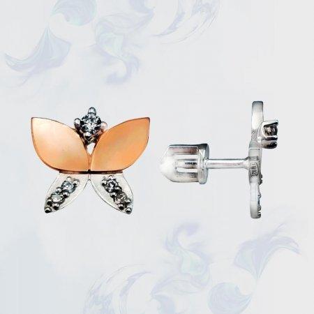 Серьги-гвоздики (пуссеты) из серебра с золотыми вставками, модель П1
