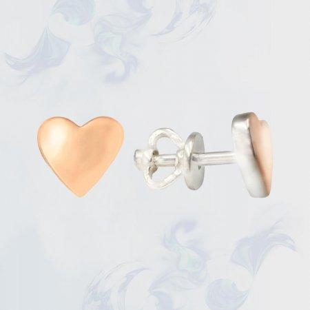 Серьги-гвоздики (пуссеты) с золотыми вставками, модель П4