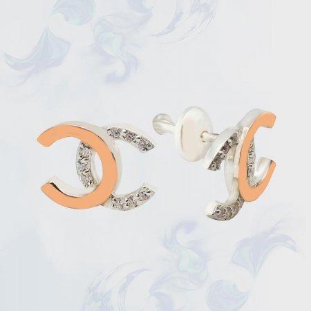Серьги-гвоздики (пуссеты) с золотыми вставками, модель П9