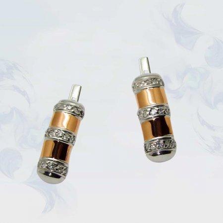 Серьги из серебра с золотыми вставками, модель 076